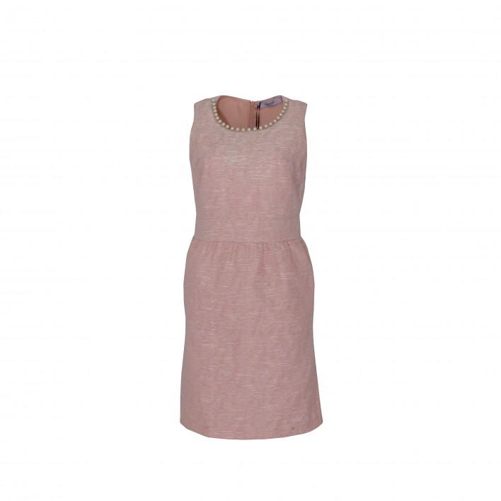 Vestido sin mangas corte cintura perlas cuello rosa BLUMARINE