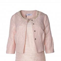 Chaqueta corta perlas cuello rosa BLUMARINE