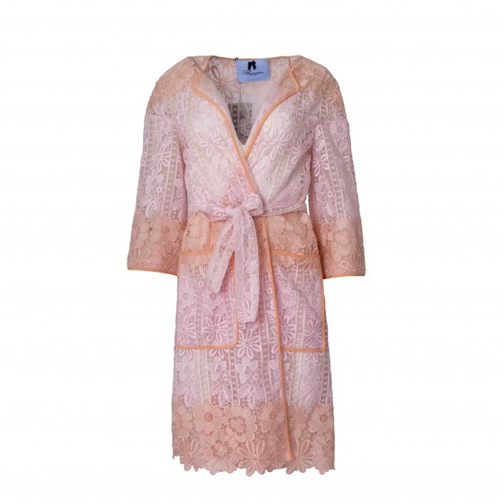 Abrigo/Kimono encaje de manga larga salmón/rosa BLUMARINE