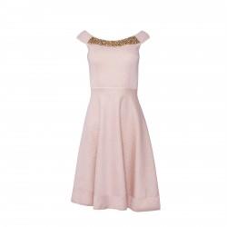 Vestido damasco cuello pedreria rosa BLUMARINE