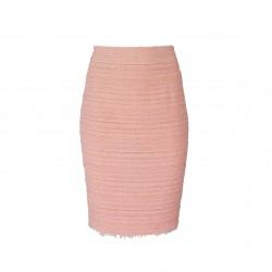 Falda recta texturizada con bajo desflecado rosa BLUMARINE