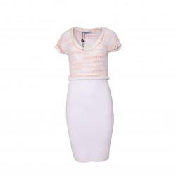 Vestido crochet más punto ajustado rosa/blanco BLUMARINE