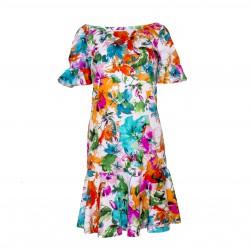 Vestido manga corta y bajo con vuelo estampado floral BLUMARINE