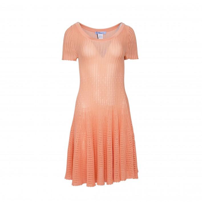 Vestido canalé con falda vuelo rosa BLUMARINE