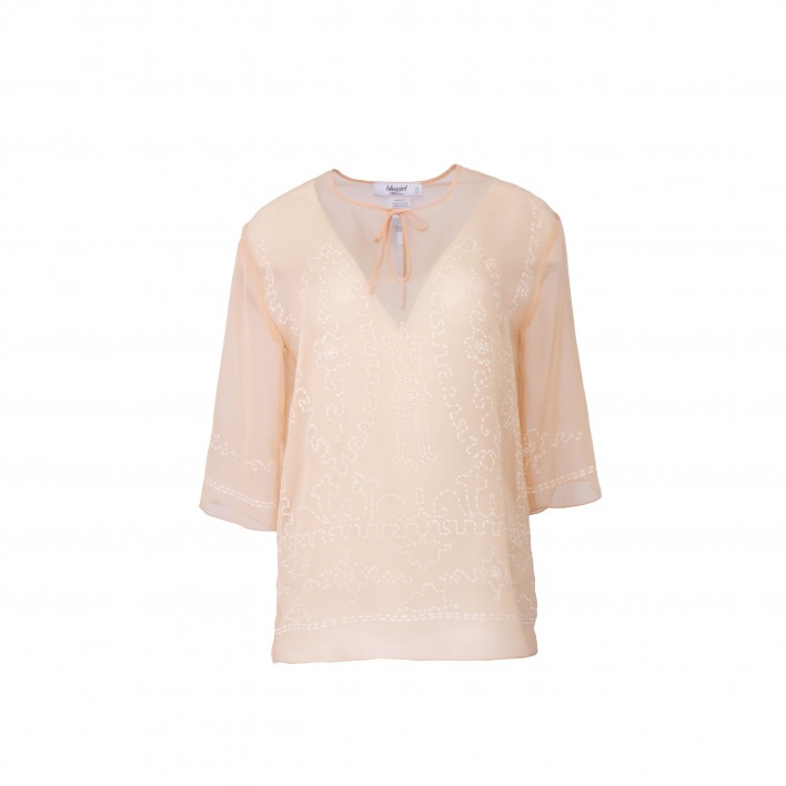 Top manga codo bordado blanco BLUMARINE