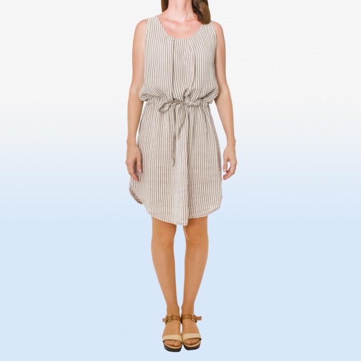 Vestido rayas cordón cintura taupe MADE IN ITALY