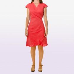 Vestido cuzado coral