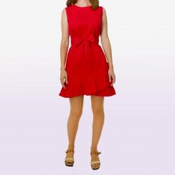 Vestido sin mangas volante bajo rojo