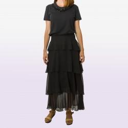 Falda larga volantes negro