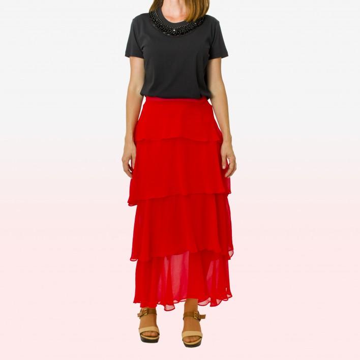 Falda larga volantes rojo