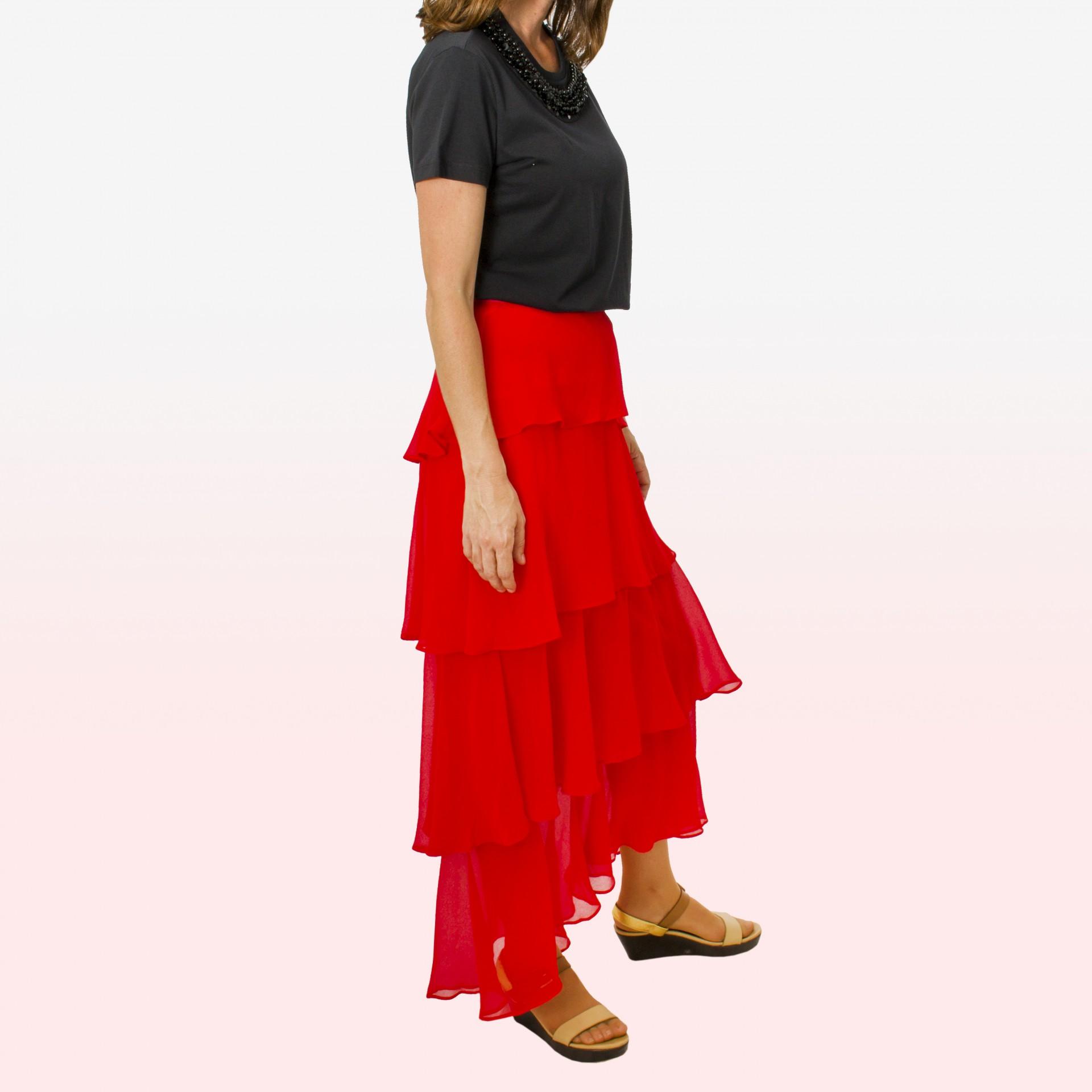 Falda larga volantes rojo  Falda larga volantes rojo ... ea9f1677360d