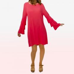 Vestido corto mangas volantes rosa fucsia MADE IN ITALY