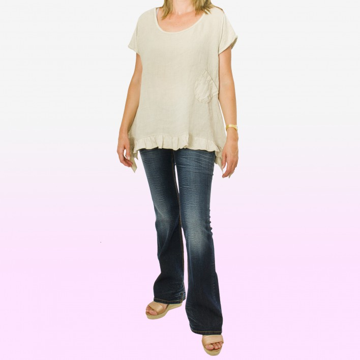 Camiseta bolsillo lateral beige MADE IN ITALY