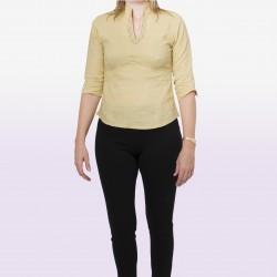 Camisa bordado cuello beige mostaza
