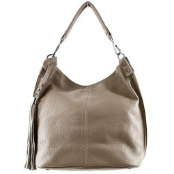 Bolso tote shopping con borla. PIEL 100% MADE IN ITALY taupe