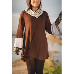 Camiseta larga mangas bicolor marrón gris MANOLITA FALDOTAS