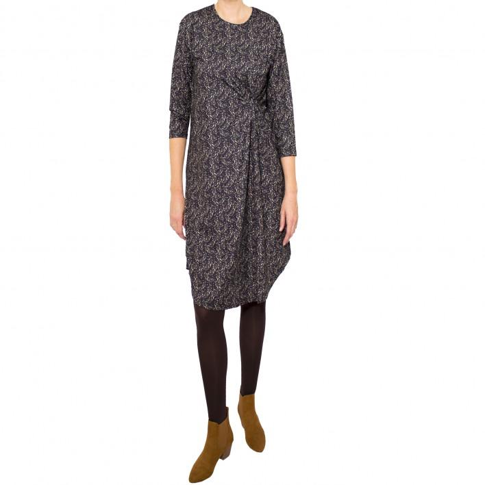 Vestido drapeado lateral estampado olivo negro MANOLITA FALDOTAS