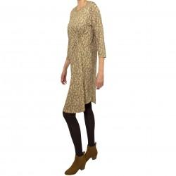 Vestido drapeado lateral estampado olivo marrón MANOLITA FALDOTAS