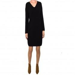 Jersey/vestido con cuello de pico negro