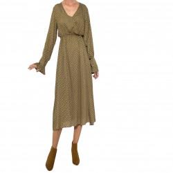 Vestido cuello pico cruzado goma cintura estampado marrón
