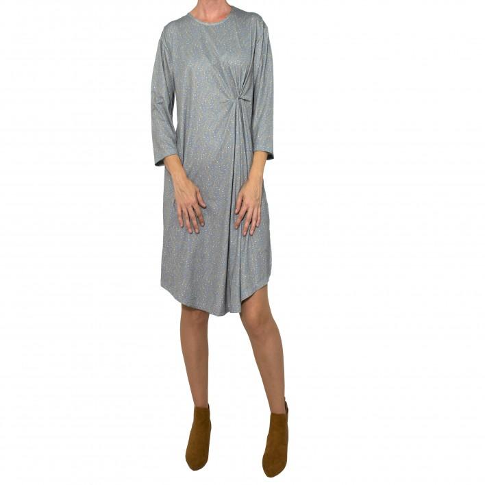 Vestido drapeado lateral estampado olivo gris MANOLITA FALDOTAS