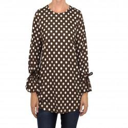 Camiseta lazo manga estampado lunares marrón MANOLITA FALDOTAS
