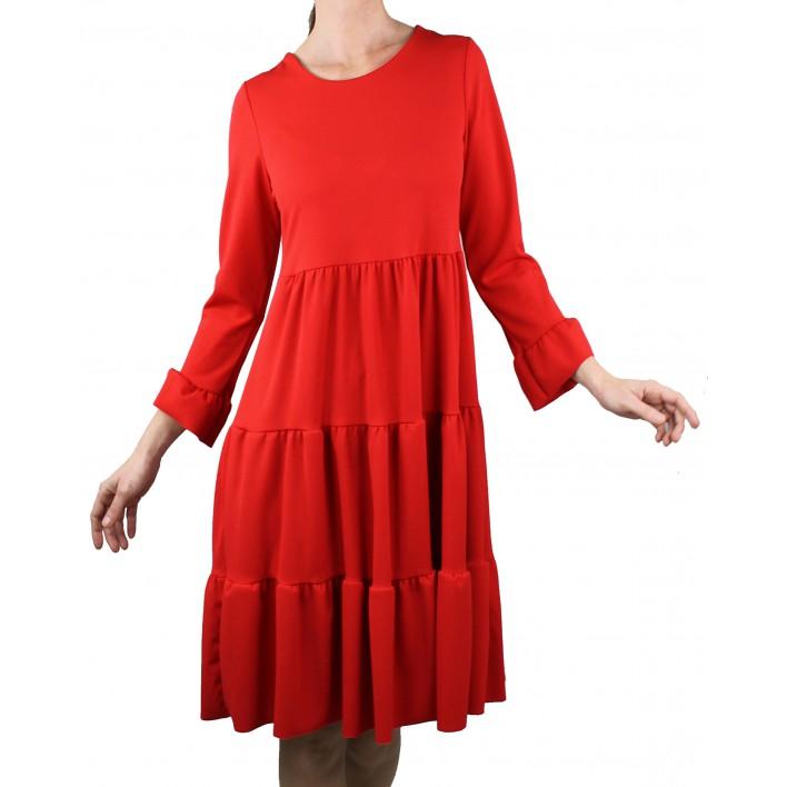 Vestido con volantes rojo
