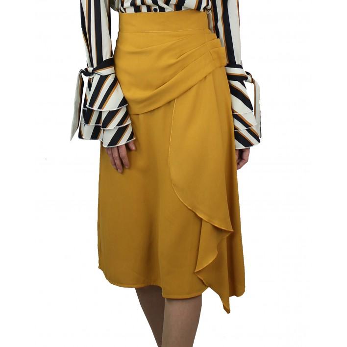 Falda midi drapeado lateral mostaza