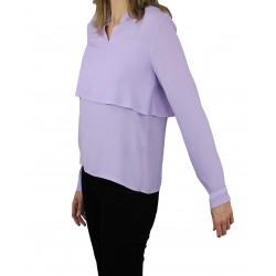 Camisa fluida con doble capa lavanda