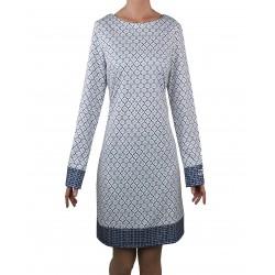 Vestido estampado geométrico marino-gris