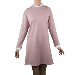 Vestido rosa tejido sudadera con cuello plisado blanco