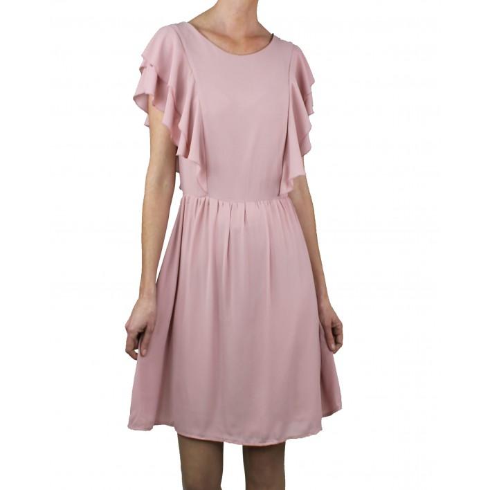 Vestido corto volantes gasa rosa