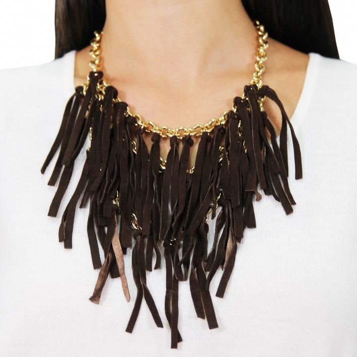 Collar cadenas + piel BLUMARINE