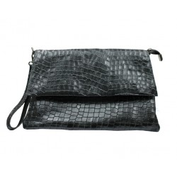 Clutch 100% piel Made in Italy coco negro