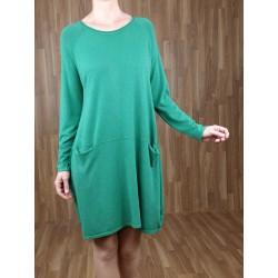 Jersey/Vestido punto bolsillos verde