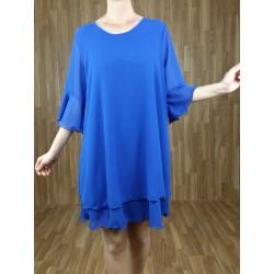 Vestido fluido manga corta azulón