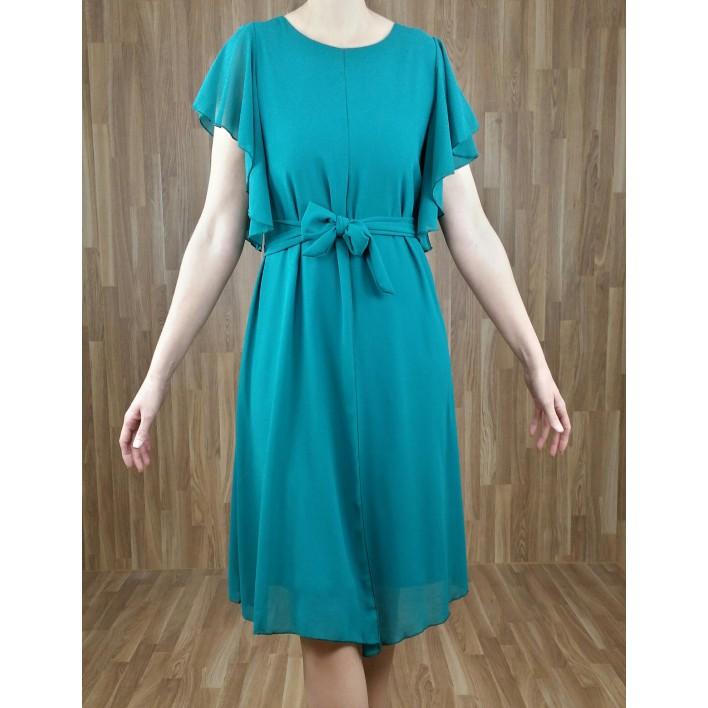 Vestido gasa abertura central y volantitos manga esmeralda