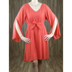 Vestido corto gasa cuello pico y aberturas mangas naranja
