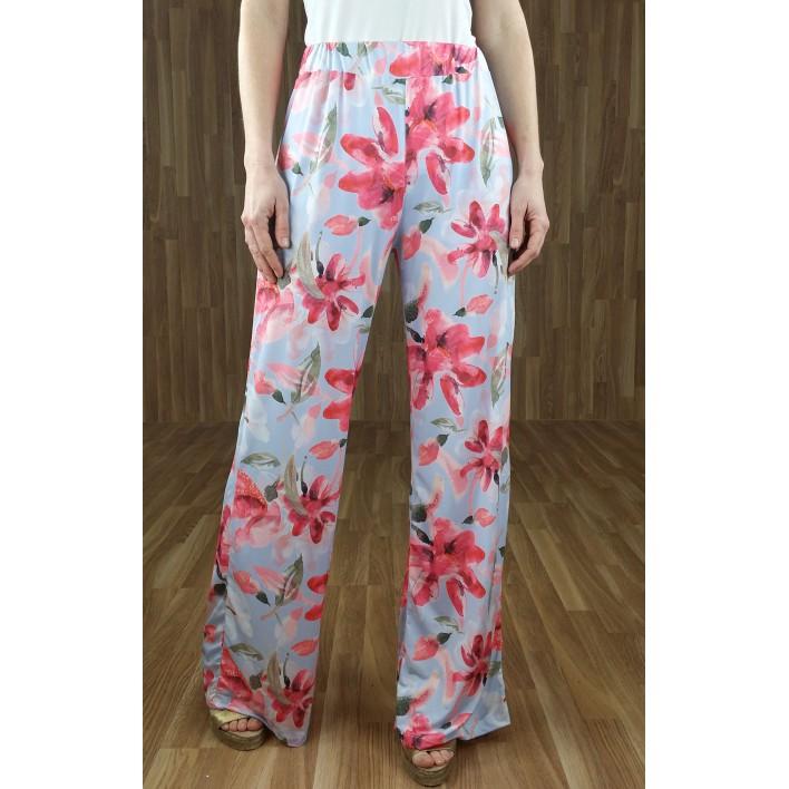 Pantalón fluido ancho estampado flores azul