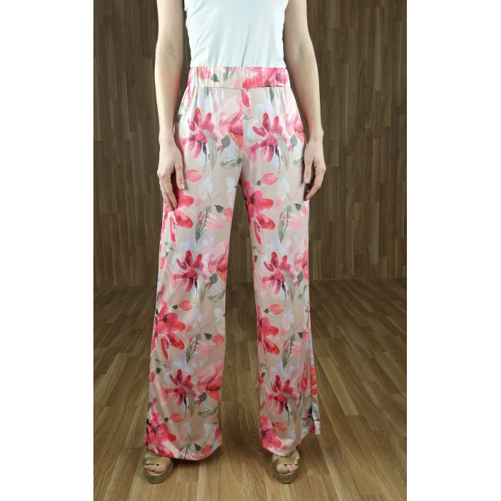 Pantalón fluido ancho estampado flores beige