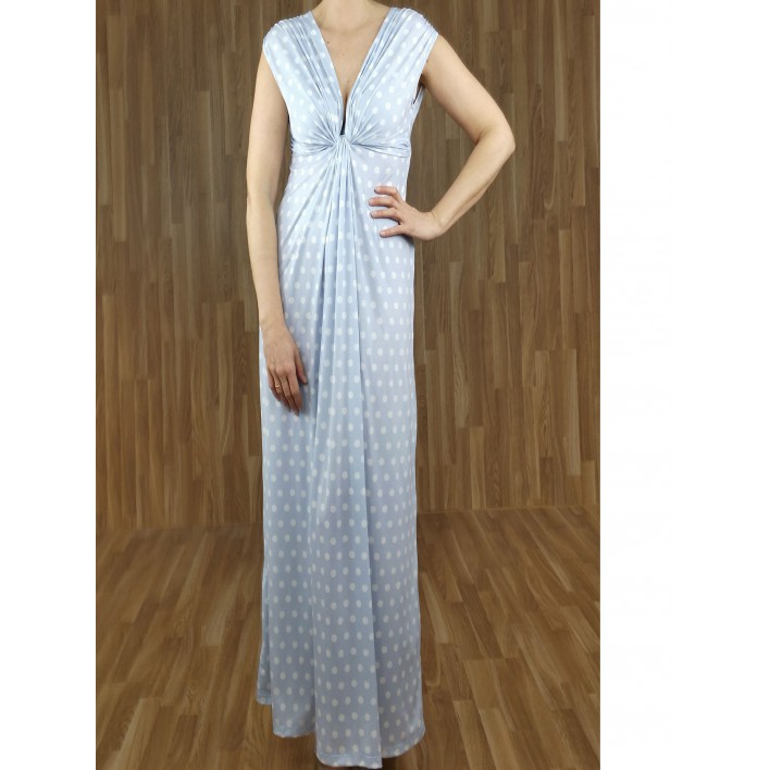Vestido largo drapeado escote con estampado lunares azul