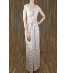 Vestido largo drapeado escote con estampado lunares beige