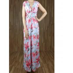 Vestido largo drapeado escote con estampado flores azul