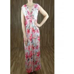 Vestido largo drapeado escote con estampado flores beige