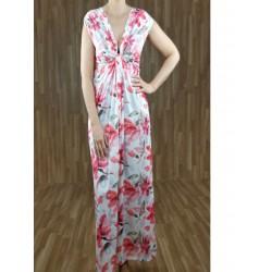 Vestido largo drapeado escote con estampado flores crudo