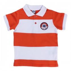 Polo niño bicolor naranja y blanco