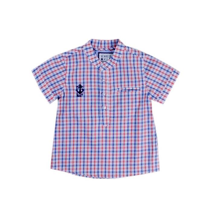 Camisa niño cuello mao cuadros