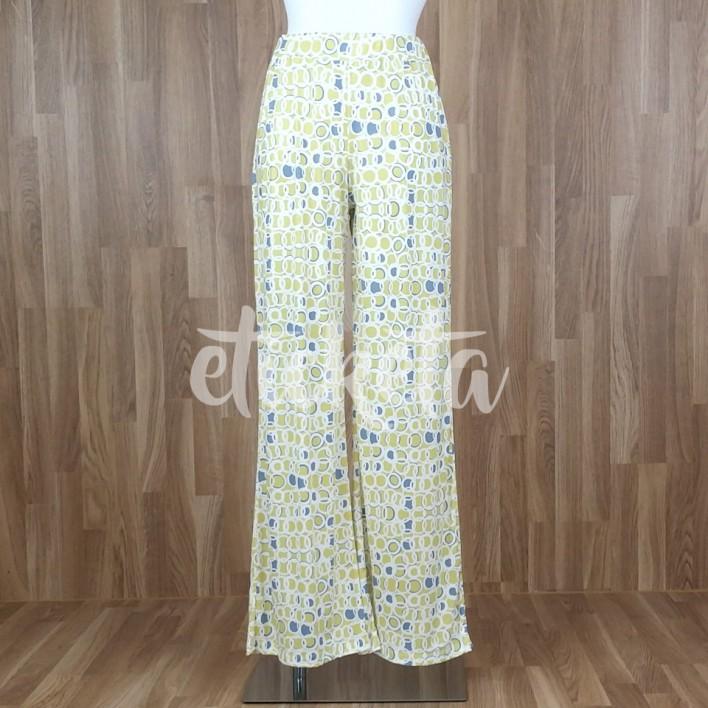 Pantalón fluido ancho estampado aros amarillo