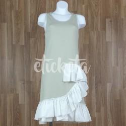 Vestido sin mangas volante bajo combinado beige-blanco