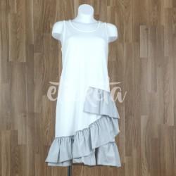 Vestido sin mangas volante bajo combinado blanco-gris